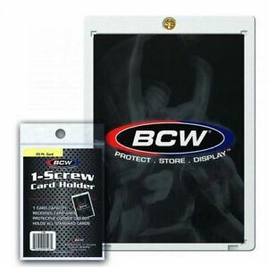 New-5-BCW-1-Screw-Standard-Recessed-Card-Holders-20PT-Screwdown-W-Brass-Screw