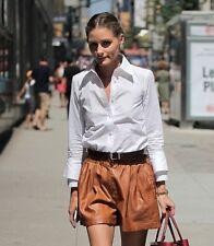 ZARA Tan Brown Faux Leather Crocodile Finish Shorts Hot Pants Size Medium M