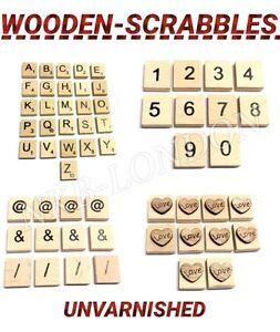 wooden scrabble letters tiles numbers symbols heart complete set