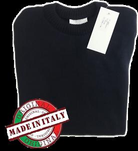 Maglione uomo girocollo blu taglie M L XL 2XL 3XLItalia  100% lana nuovo
