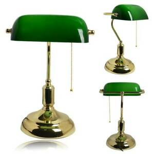 Details about UK Bankers Lamp LED Desk Lamp Brass Table Light Vintage Green Shade Read Working