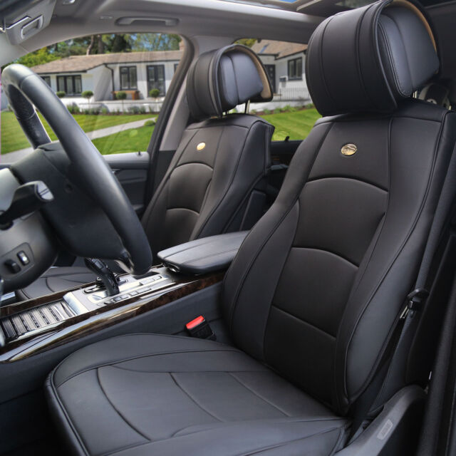 Car SUV Truck PU Leather Seat Cushion Covers Front Bucket Seats Solid Black