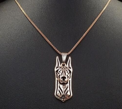 Doberman Jewelry Necklace Pendant Rose Gold Plated