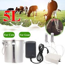 5l Milking Machine Dairy Cow Milker Professional Stainless Steel Bucket Tank Us
