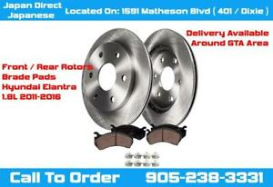 Hyundai Elantra Front / Rear Brake Pads & Rotors Kit Right / Left Premium Coated Set 2011 2012 2013 2014 2015 2016 City of Toronto Toronto (GTA) Preview