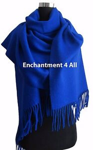 Large 100% 4-Ply Pure Cashmere Shawl Wrap, Royal Blue