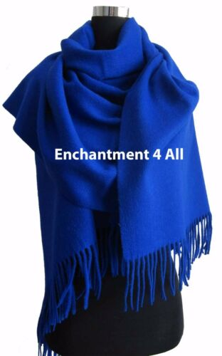 Royal Blue Large 100/% 4-Ply Pure Cashmere Shawl Wrap