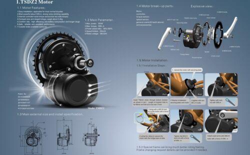 TSDZ2  Central Mid Motor With Torque Sensor,36V 350W 42T Ebike Kit VLCD6 LCD
