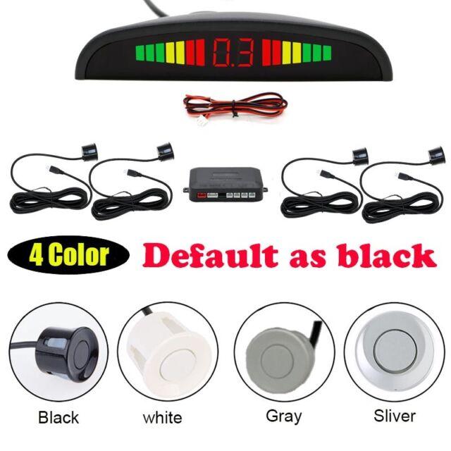 LCD Car Reverse Parking Sensors 4 Auto Radar Audio Alarm Buzzer White Kit UK