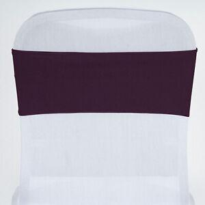 10 Eggplant Purple Spandex Stretchable Chair Sashes Wedding Party Decorations Ebay