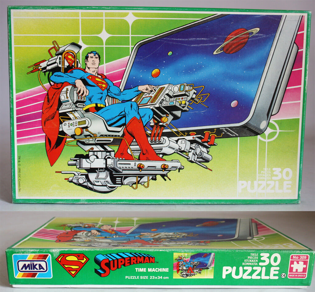 RARE VINTAGE 1990 SUPERMAN 30 PCS PUZZLE MADE IN GREECE MIKA GREEK NEW MIB