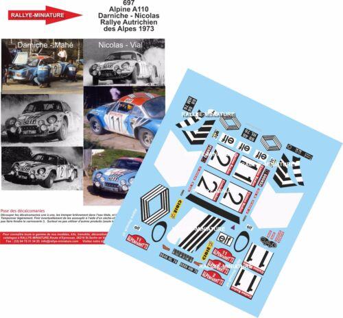 DECALS 1//18 REF 697 ALPINE RENAULT A110 NICOLAS RALLYE AUTRICHE 1973 RALLY WRC