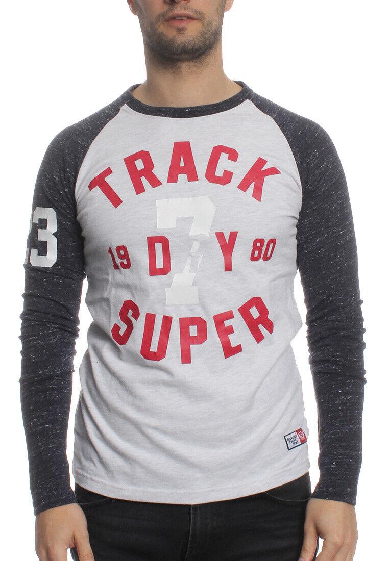 Superdry Longsleeve Uomo Trackster Baseball Ls Ice Marna Atlantic Blu Marino
