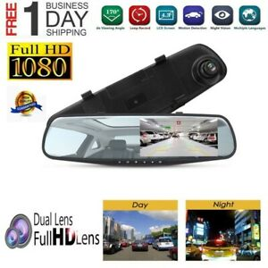 HD-1080P-Car-Rearview-Mirror-DVR-Dual-Lens-Video-Dash-Cam-Camera-Night-Vision