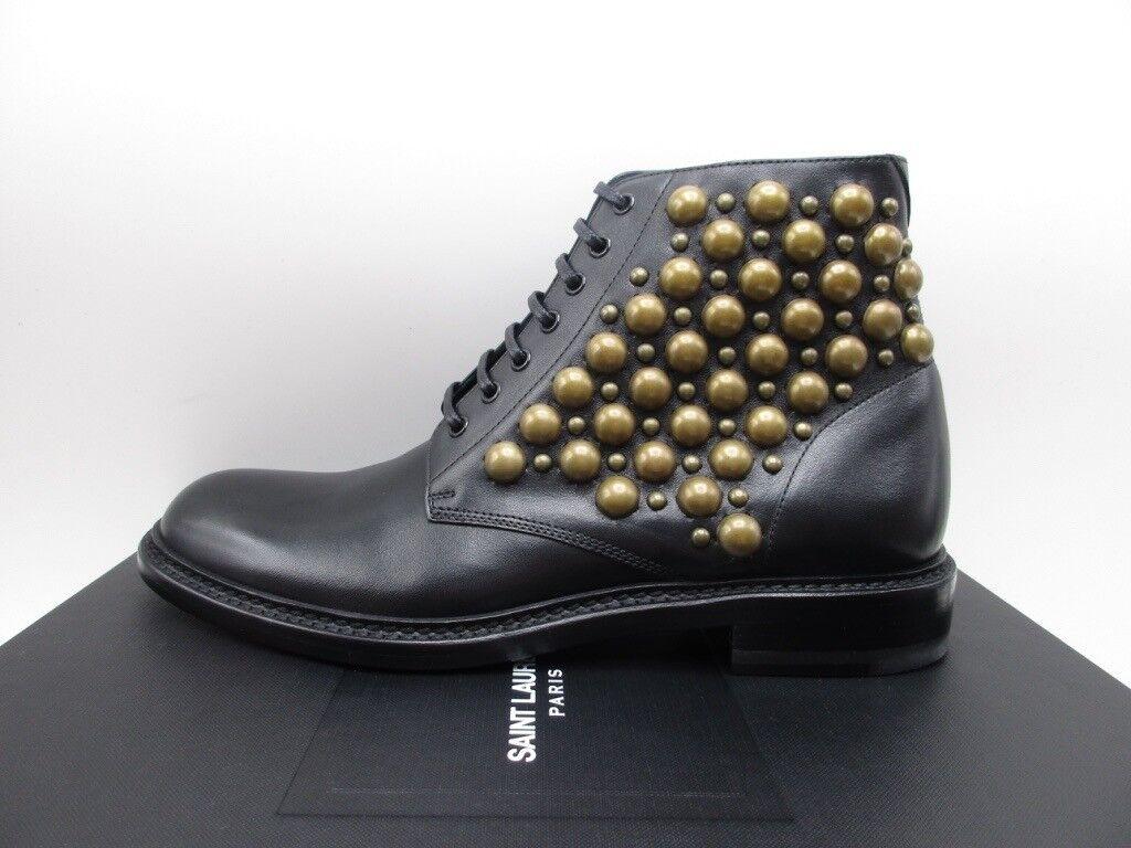 Saint Laurent YSL Lolita 20 Black Studded Lace Up Combat Booties 37.5
