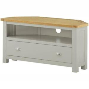Padstow Painted Corner Tv Stand Solid Wood Grey Painted Oak Tv