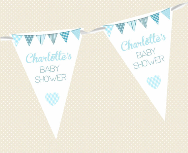 PERSONALISED BABY SHOWER BUNTING- BANNER PARTY DECORATION MIXED BOY & GIRL FLAGS
