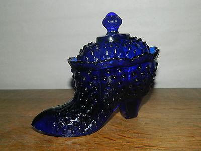 """Elegant 6/"""" Slipper Covered Shoe Trinket Candy Cobalt Blue Hobnail Glass w//Lid"""