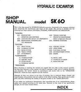 kobelco sk60 hydraulic excavator shop service manual ebay rh ebay com kobelco service manual sk030 kobelco service manual sk030