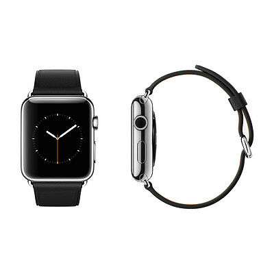 Apple Watch 42mm Silver Stainless Steel Case Black Classic Buckle