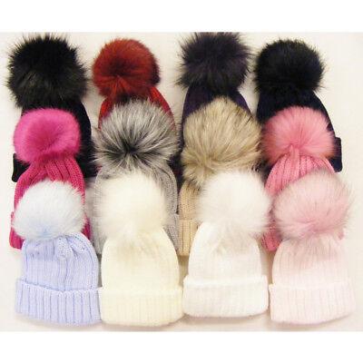Bambini Bambine Bambini Deluxe In Pelliccia Sintetica Bobble Pom Pom Cappello Invernale 1 - 6 Anni- Possedere Sapori Cinesi