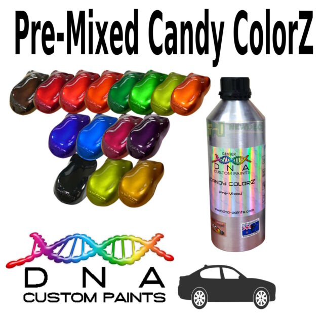 DNA CANDY ALL COLOURS 500ml PRE MIXED PAINT COLORZ PC 1 AUTO SPRAY VEHICLE BODY