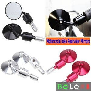 """Universal 7/8""""& 1"""" CNC Motorcycle Rear View Handle Bar End Side Rearview Mirrors"""