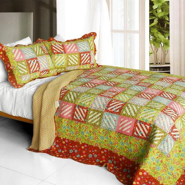 3 PC Paradise Ranch floral squares rot Grün Blau 100% Cotton Queen Quilt Shams