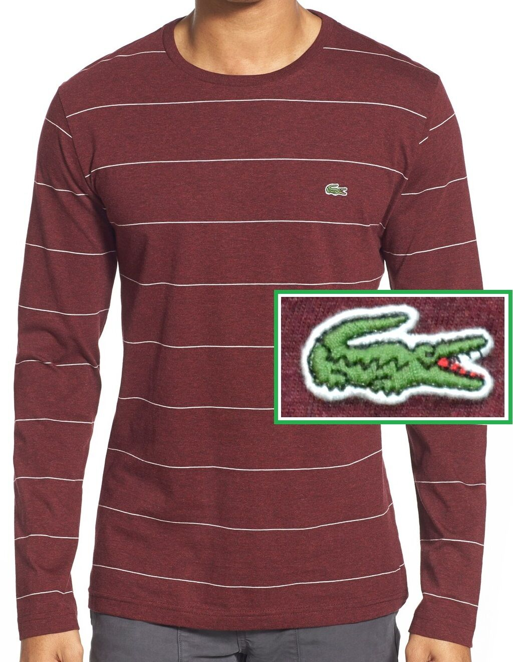NWT Lacoste Contemporary Pima Cotton Slim Fit Long Sleeve Stripe Jersey T-Shirt