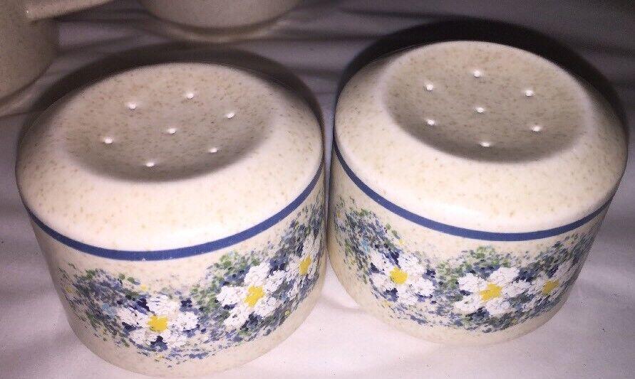 """Vtg Salt Salt Salt Pepper Shakers Lenox Temper-ware DEWDROPS 4 3 8"""" Blau Floral Excellent 72a6f4"""