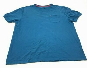 Tommy-Hilfiger-Shirt-Size-2XL-XXL-Blue-Pocket-Tee-Short-Sleeve-Embroidered-Logo