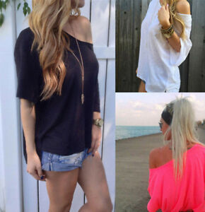 New-Women-Summer-Shirt-Off-Shoulder-Short-Sleeve-Casual-Blouse-Tops-T-Shirt