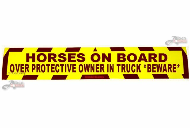 STICKER HORSES ON BOARD OVER PROTECTIVE OWNER BEWARE SIGN HORSEBOX TRAILER SH06