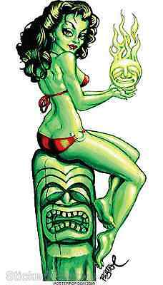 Green Siren Sticker Decal Artist Big Toe Mermaid With Tiki BT51