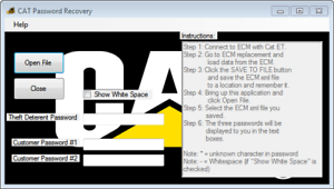 Details about Caterpillar customer password recovry tool for Cat ecm  configuration files
