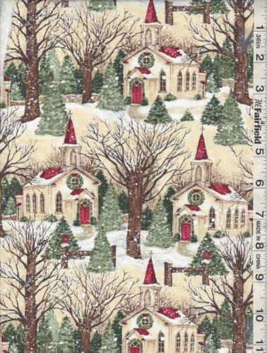 Christmas Winter Church Scenic by Springs Creative bty