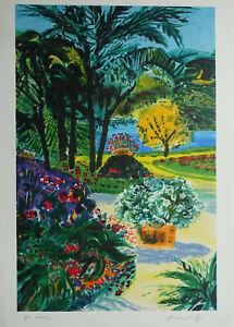Jean-Pierre-Pophillat-Jardin-Mediterranean-Lithography-Original-Signed