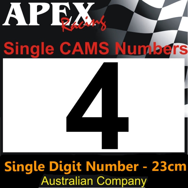 CAMS Approved Sizing - Single Digit No 4 Door Number Sticker - Race Rally Drift