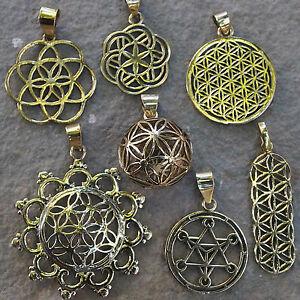 Sacred geometry pendants brass spiritual symbols flower of life image is loading sacred geometry pendants brass spiritual symbols flower of aloadofball Gallery