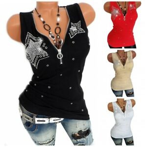 Fashion-Women-Zipper-V-Neck-Sleeveless-Tank-Top-Vest-Slim-Fit-Summer-Blouse-Tops