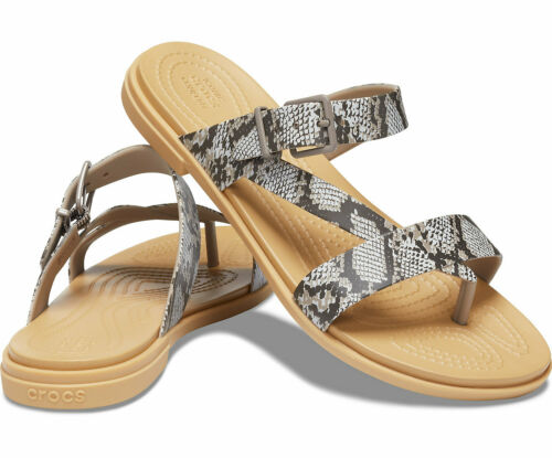Crocs Tulum Toe Post Sandals Womens Beach Holiday Slip On Open Toe Strap Flats