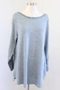 Soft Surroundings Bailey Waffle Knit Eyelet Trim Tunic Sweater Top Thermal Sz XL