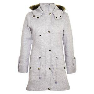 f226f38dfbd3 Kids Girls Grey Fleece Parka Jacket Long Faux Fur Hooded Winter ...