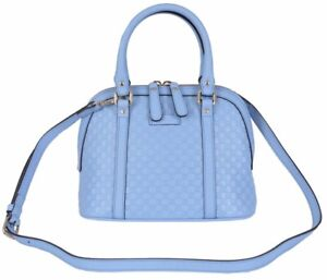 146165bd5f9 Gucci 449654 Micro GG Baby Blue Leather Convertible Mini Dome Purse ...