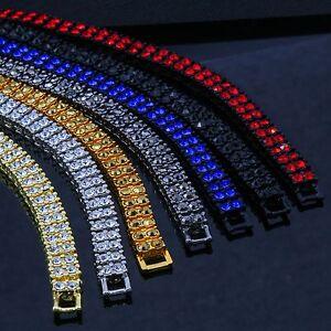 2-ROW-Lab-Diamond-Hip-Hop-Bracelet-Gold-Silver-Black-Canary-Red-Blue-Gun-Hema