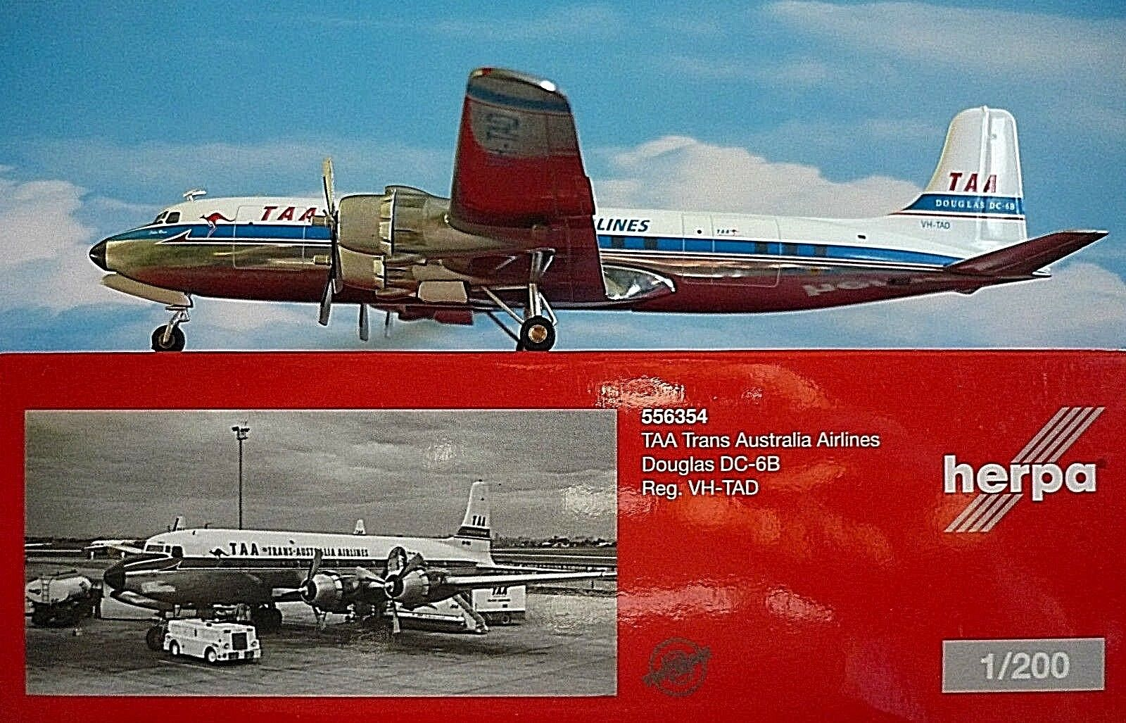 Herpa Wings 1 200 Douglas DC-6B TAA Trans Australia Airlines VH-TAD 556354