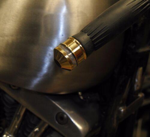 """BAR-END SOLID BRASS TURN SIGNAL MARKER LIGHTS YEL LED 7//8 OR 1/"""" BARS CAFE BOBBER"""