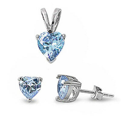 Aquamarine Heart .925 Sterling Silver Earrings & Pendant Set