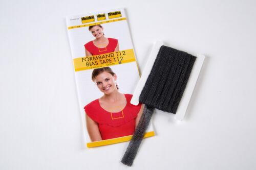runden Kanten Vlieseline 5m Formband 12mm grafit Sicherung von schrägen o