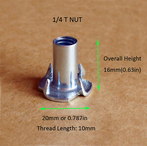 """(Qty50) 4 Prong T-Nut 1/4""""-20 (Tee Nut) Zinc Plated For Wood Furniture USA SHIP"""